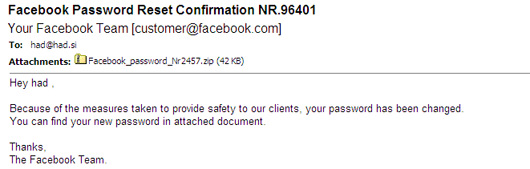 Facebook Password Reset Confirmation