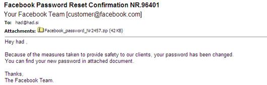 Facebook Password Reset Confirmation