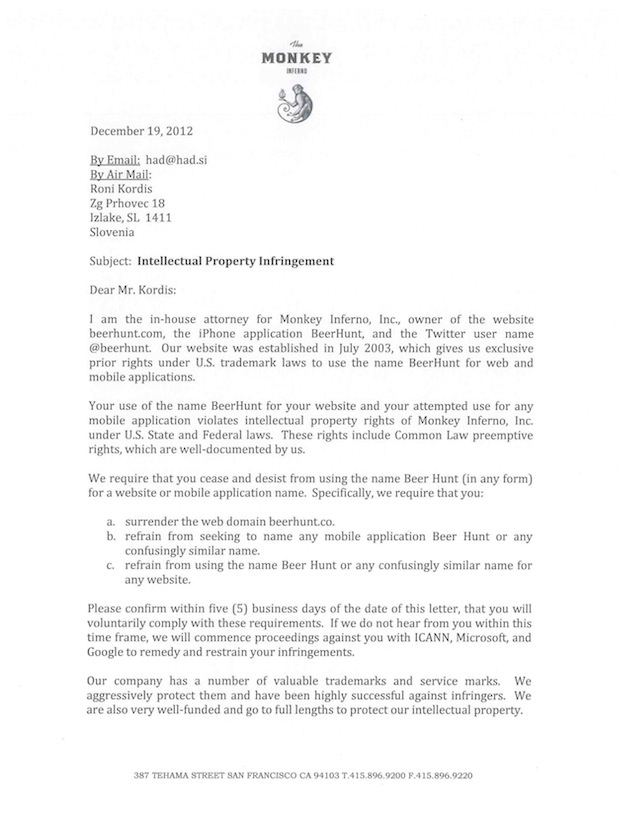 MI Ltr to R Kordis re BeerHunt 19 Dec 2012_Page_1
