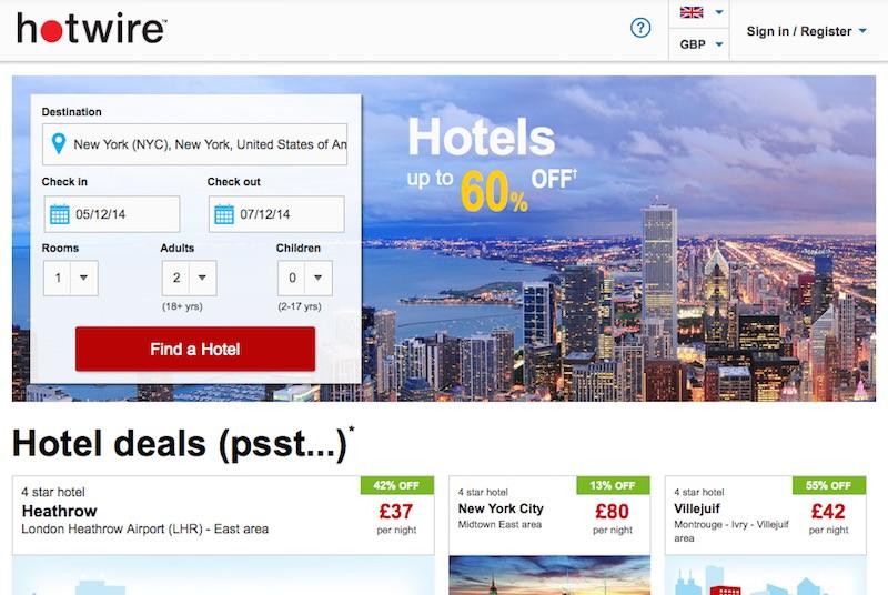 Hotwire - Poceni hoteli na spletu