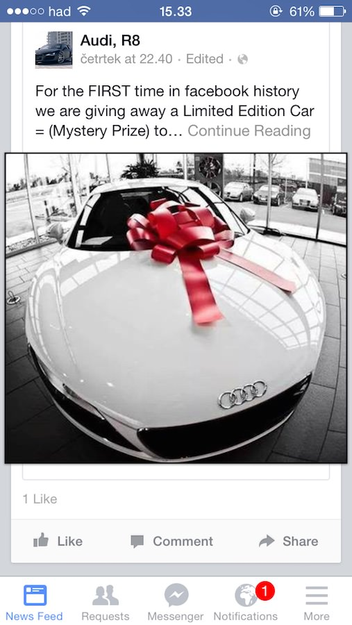 Zastonj Mercedes Benz E63 AMG in Audi R8 na Facebooku