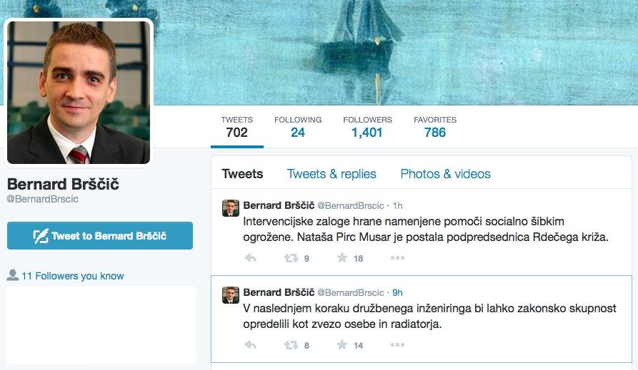 Bernard Brščič in njegove žalitve na Twitterju