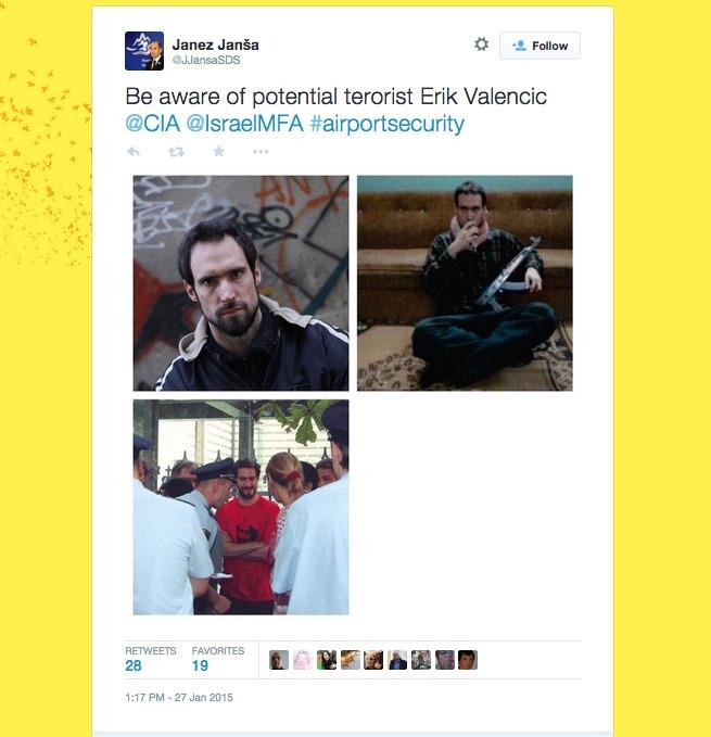 Erik Valenčič, Janez Janša, Twitter, terorist, Cia