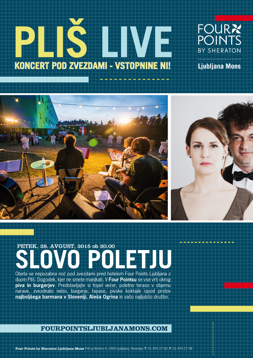 Pivo, burgerji in Pliš / 28.8.2015 / 20.00 / Four Points by Sheraton Ljubljana Mons