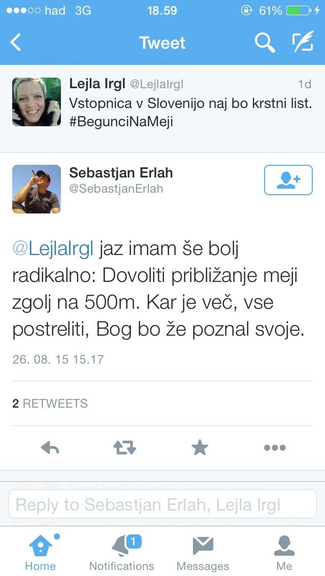 Lejla Irgl, sestra Eve Irgl,na Twitterju / vstopnica v Slovenijo naj bo krstni list
