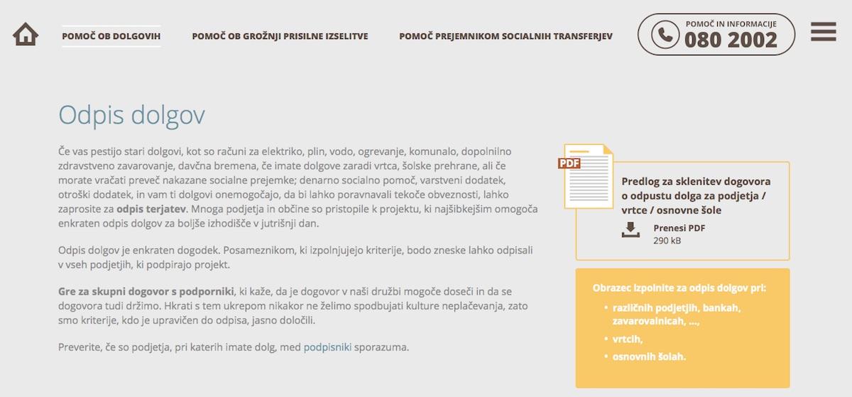 Odpis dolgov informacije in obrazci / paketpomoci.si