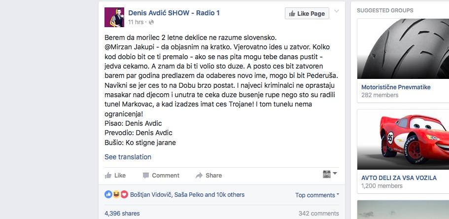 Denis Avdić na Facebooku / kaj ti je tega treba bilo
