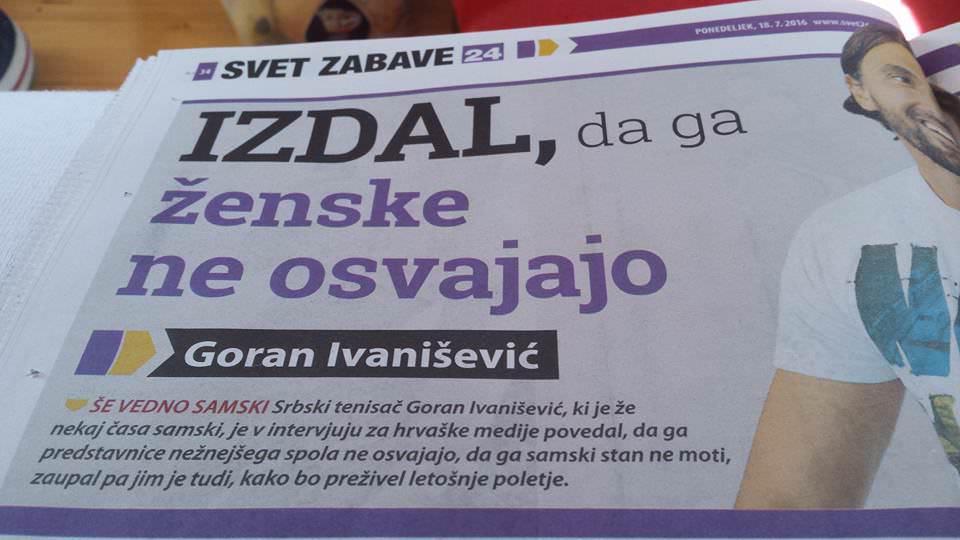 Svet24 / Goran Ivanišević ni Srb, ampak je Hrvat