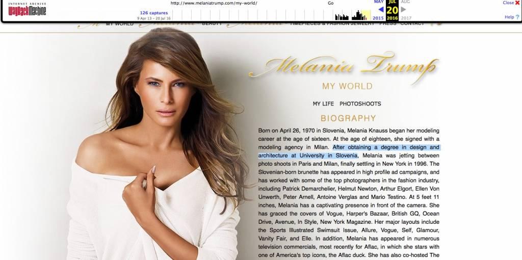 Melania Trump / gole fotografije in odstranjeno spletno mesto