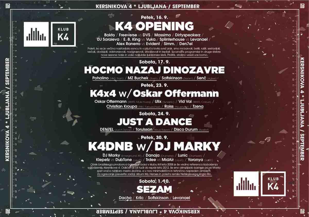 16/9/2016 odpira vrata prenovljeni klub K4 / program
