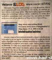 Vecerov blog