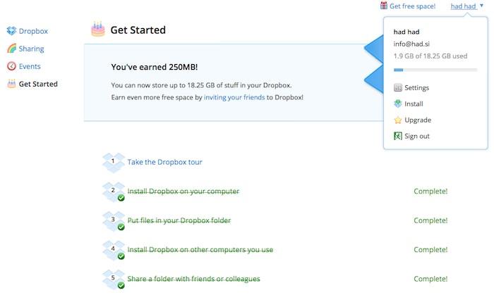 dropbox Dropbox   kako do 18GB prostora za 5$, ali zastonj