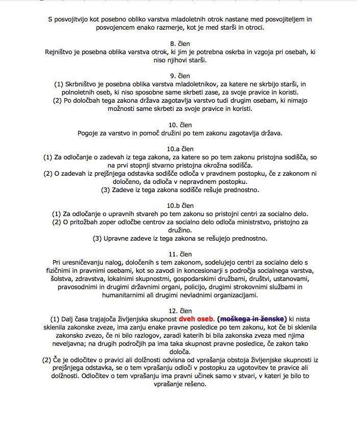 Novela zakona o zakonski zvezi in družinskih razmerjih sprejeta