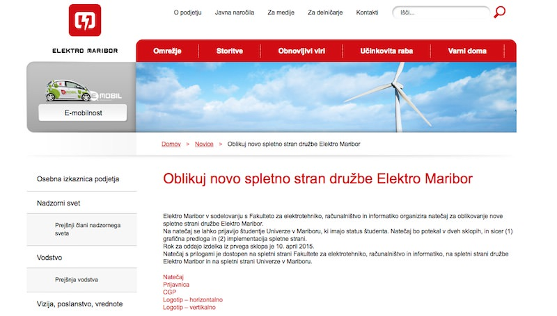 Elektro Maribor - natečaj za novo spletno stran družbe Elektro Maribor