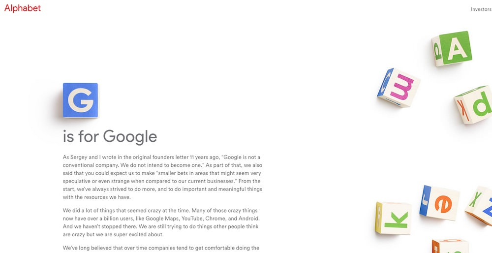 Alphabet / novo podjetje / Google