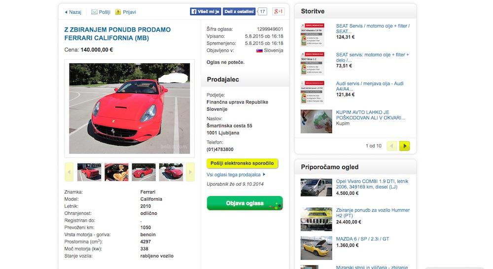 FURS prodaja vozila na Bolhi / z zbiranjem ponudb prodamo Ferrari California