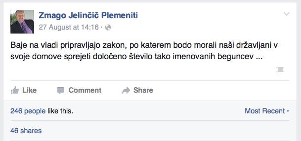 Zmago Jelinčič Plemeniti in njegove izjave o beguncih na Facebooku