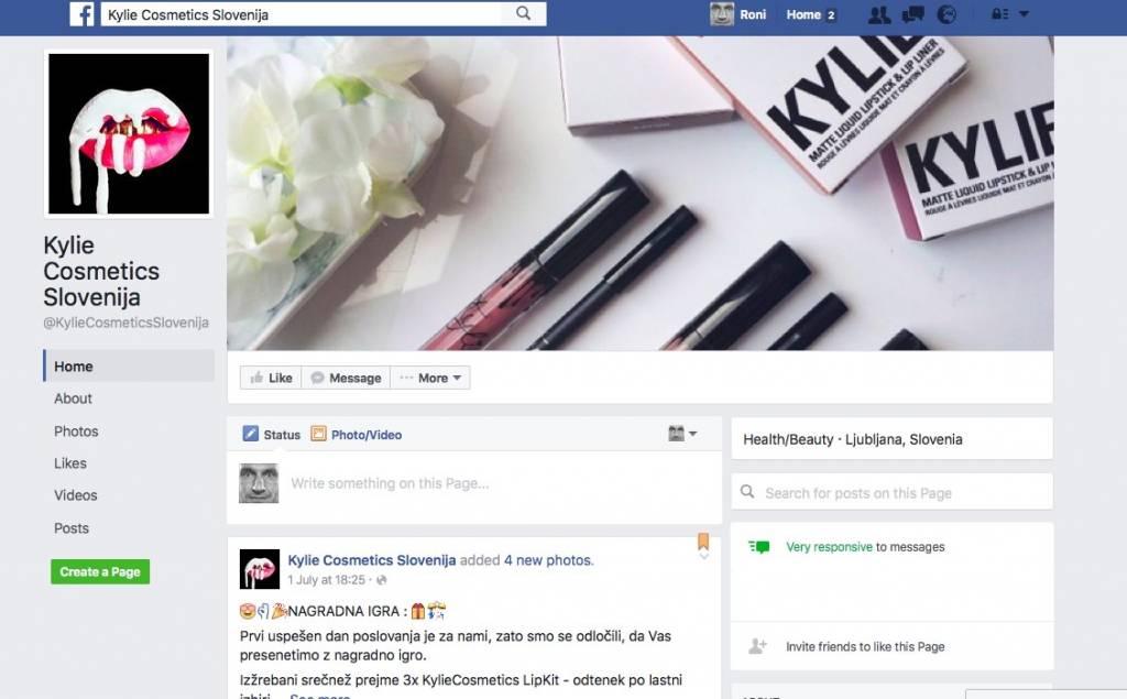 Kylie Cosmetics Slovenija / Kylie Jenner in Facebook stran
