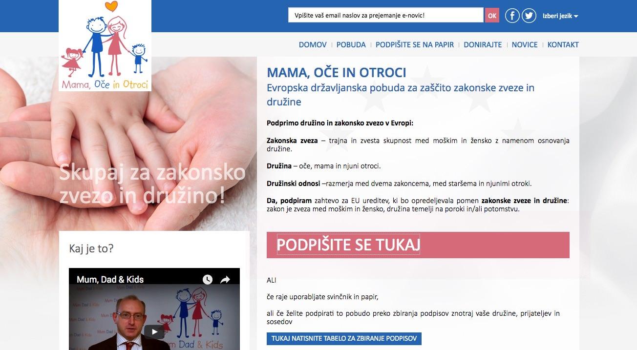 Evropska državljanska pobuda: Mama, oče in otroci
