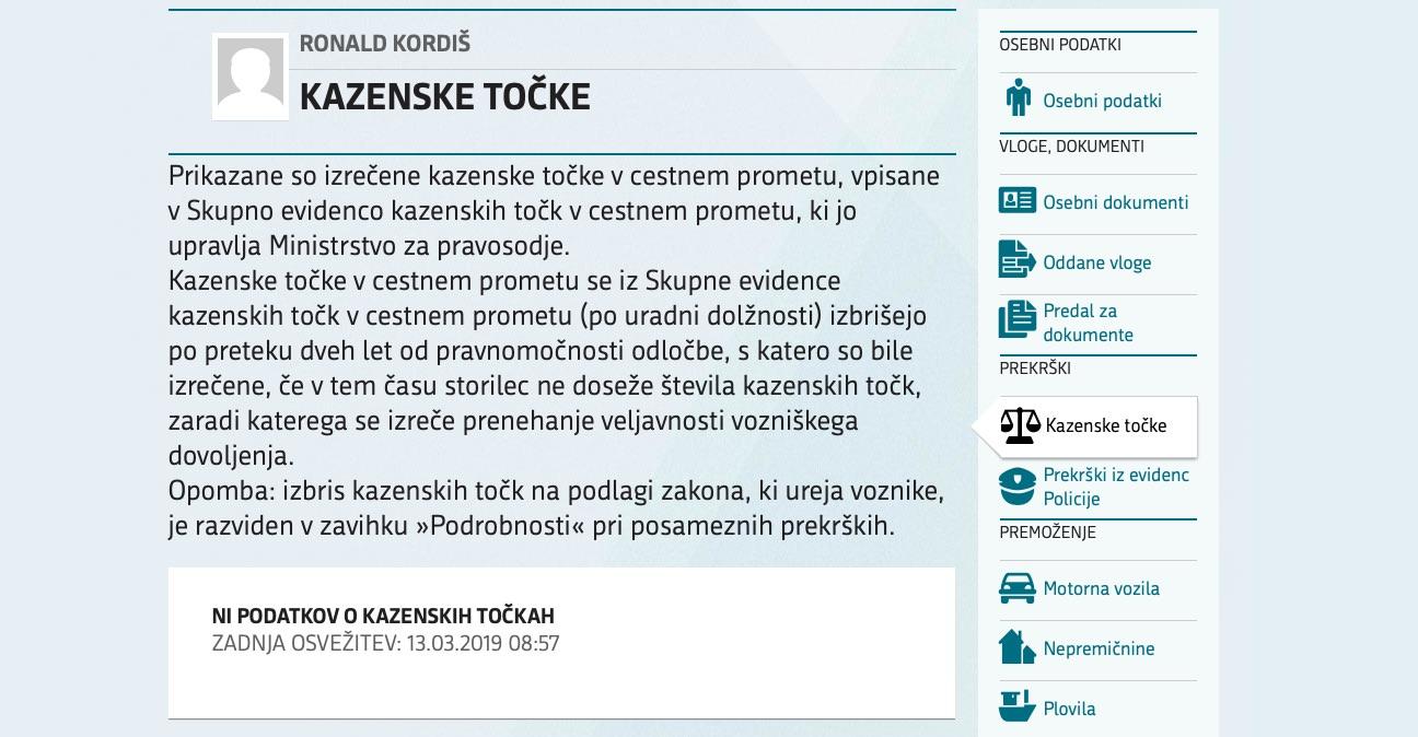 Podatki o kazenskih točkah na portalu eUprava