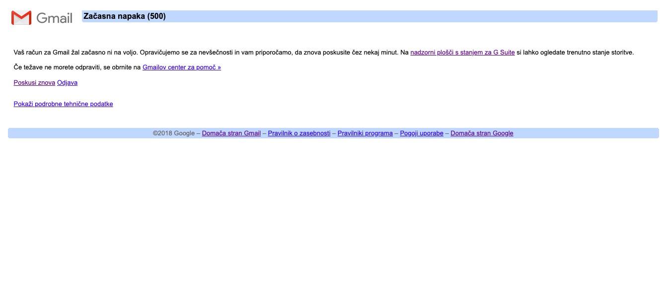 Google down ne delujejo Docs Analytics Gmail ...
