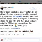 Luka Doncic in Lufthansa namesto poslovnega razreda ekonomski