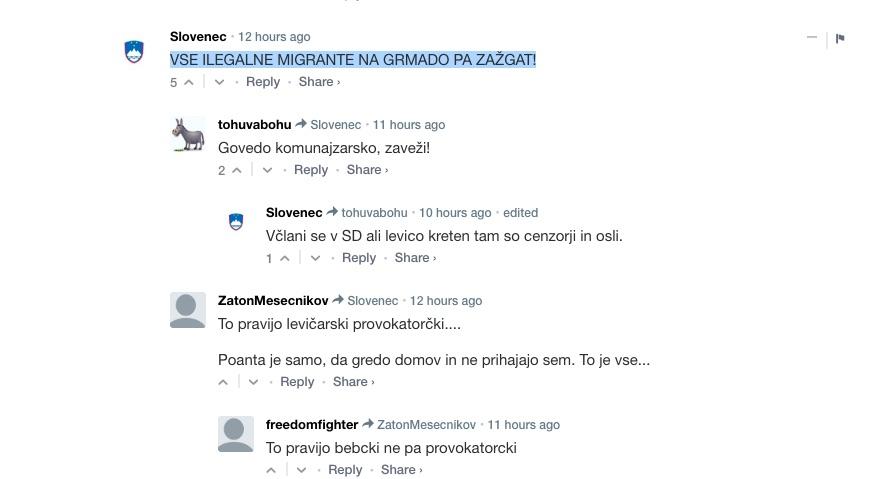 Vse ilegalne migrante na grmado pa zazgat komentar na Nova24tv.si svoboda govora