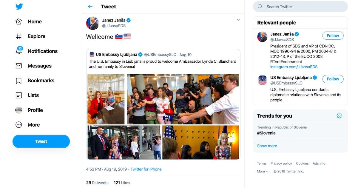 Wellcome Janez Jansa tvitne novi ameriski veleposlanici v Sloveniji Lyndi C. Blanchard