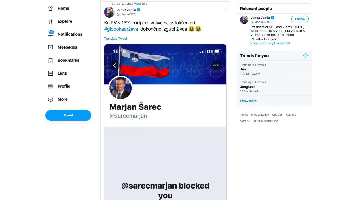 Marjan Sarec na Twitterju blokiral Janeza Janso kakšni so bili odzivi Janezov sledilcev