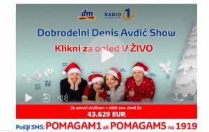 28 urni dobrodelni Denis Avdic Show Radia 1 poslji POMAGAM5 na 1919 Jana Morelj Anja Ramšsk Denis Avdic Miha Dezelak