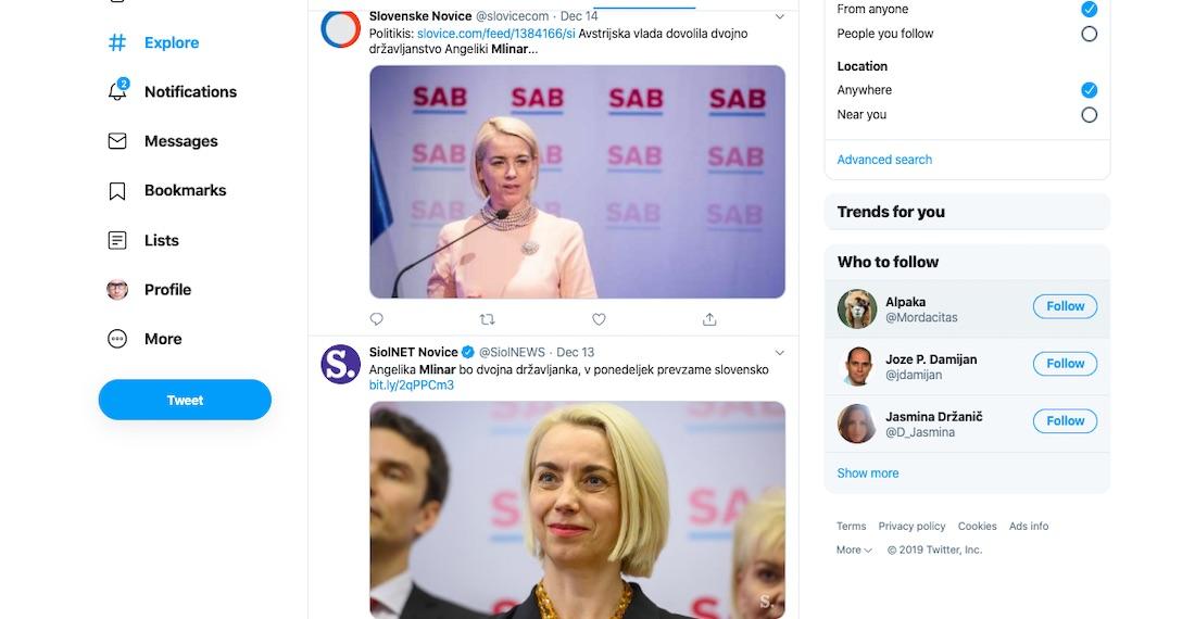 Angelika Mlinar za ministrico za kohezijo in razvoj odzivi na Twitterju