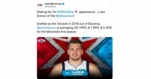 Luka Doncic bo nastopil na tekmi NBA All Star 16. februarja v Chichagu