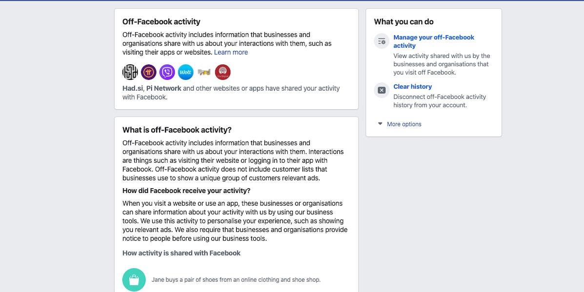 Off Facebook activity Facebook ve kaj pocnete tudi v resnicnem zivljenju