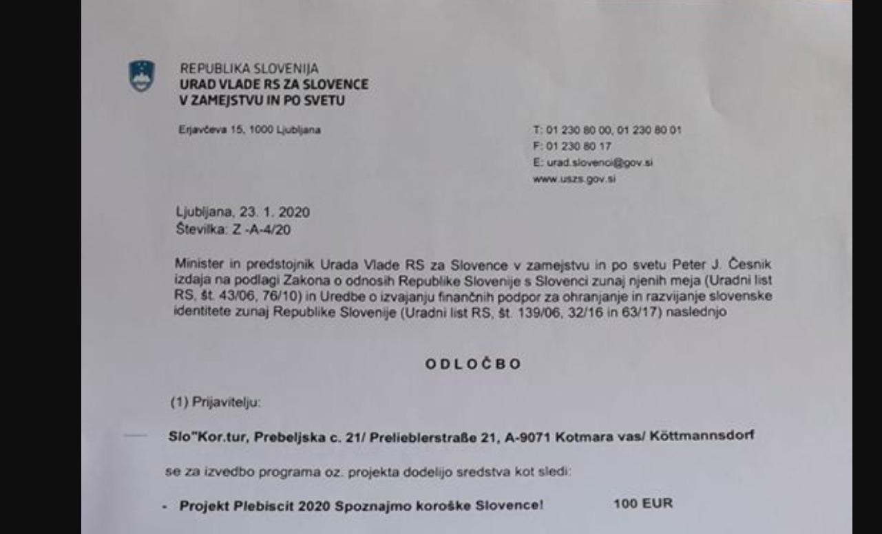 Urad Vlade RS za Slovence v zamejstvu in po svetu namenil 100 evrov za letni projekt