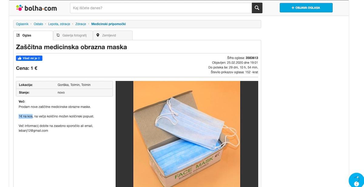22Vojni dobickarji22 prodajajo zascitne obrazne maske na Bolhi