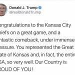 Kansas City Chiefs zmagali na Super Bowlu Donald Trump cestital Great State of Kansas za zmago