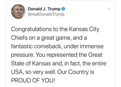 Kansas City Chiefs zmagali na Super Bowlu Donald Trump cestital Great State of Kansas za zmago