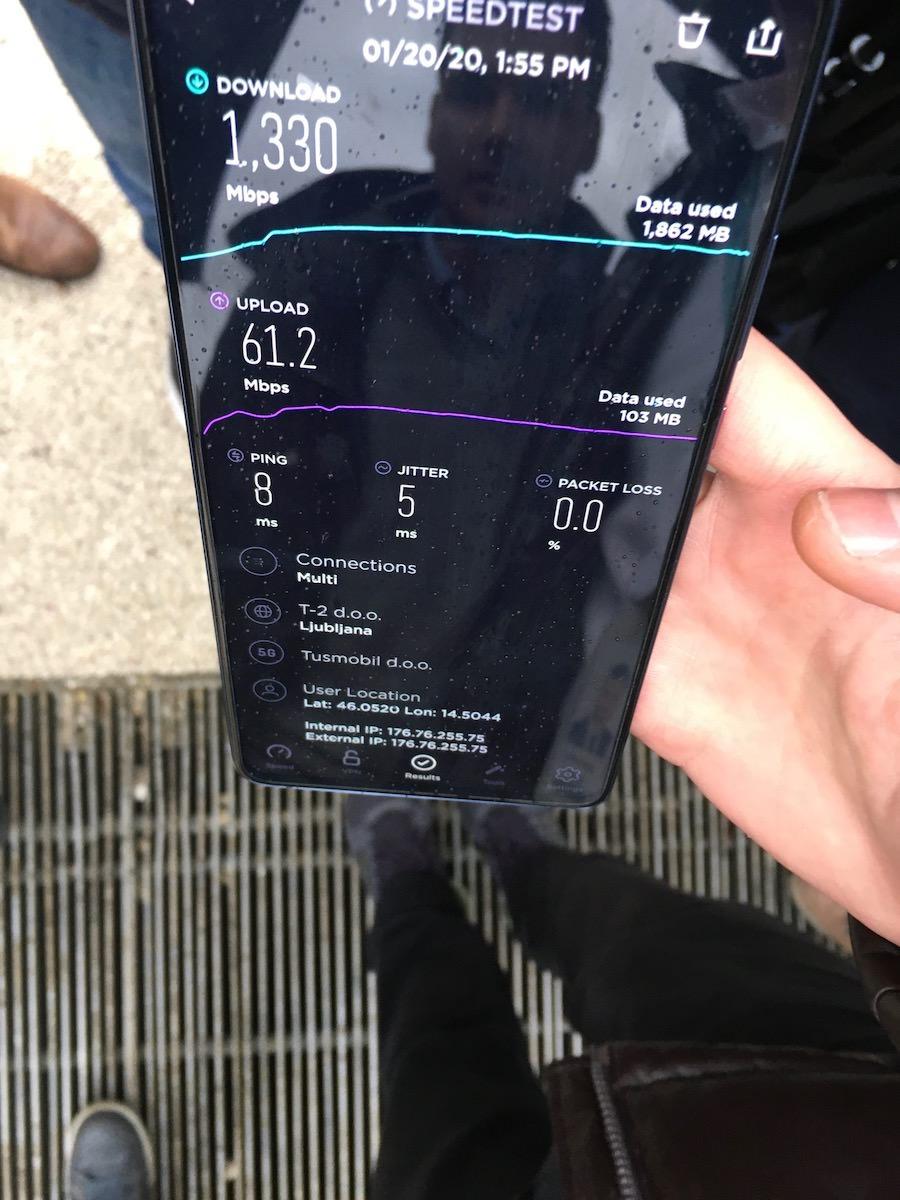 Telemach 5G omrezje v Ljubljani hitrost 1330 Gbs10