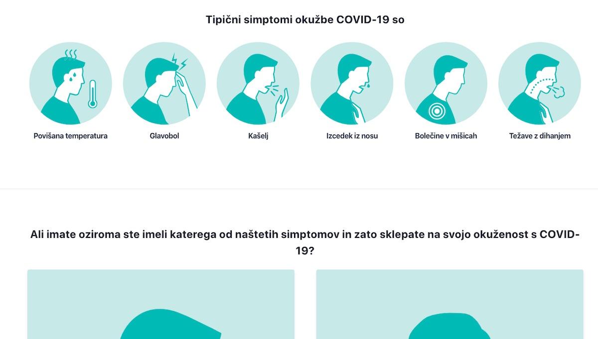 Anonimno porocaj o svojem pocutju na strani za zbiranje podatkov o koronavirusu covid 19 stats.si