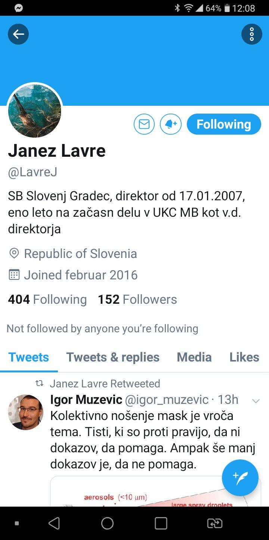 Janez Lavre direktor bolnisnice Slovenj Gradec in njegovo zaljenje na Twitterju3