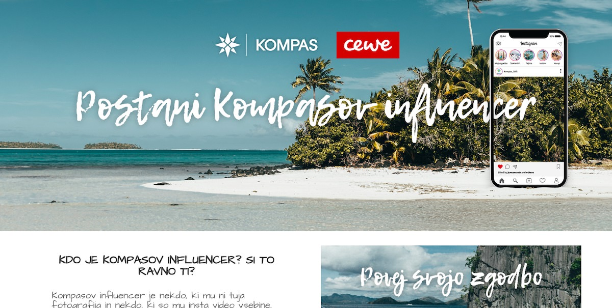 Postani Kompas influencer za eno Cewe foto knjigo in Kompasov bon za 50 evrov