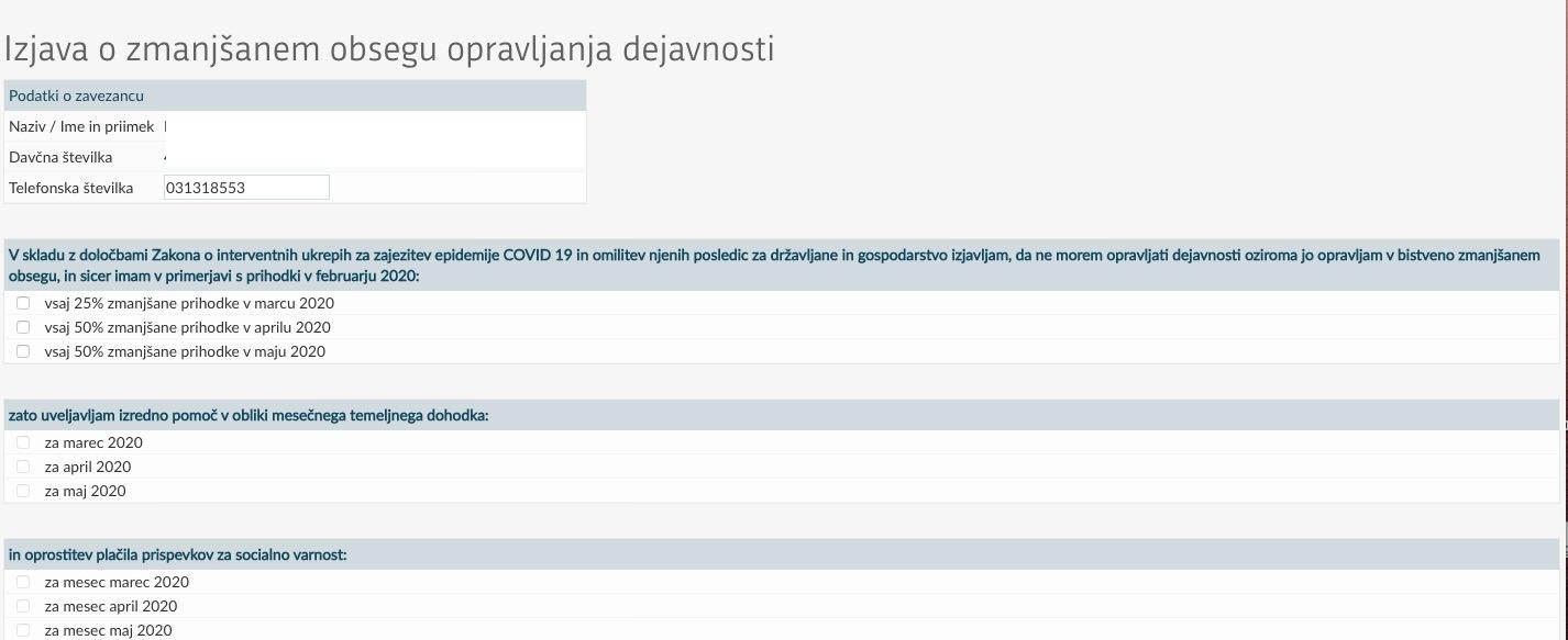 eDavki NF COVID19 1 Izjava o zmanjsanem obsegu opravljanja dejavnosti