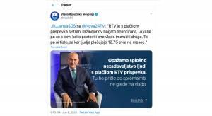 Uradni twitter profil Vlade Republike Slovenije je promocijski kanal predsednika vlade