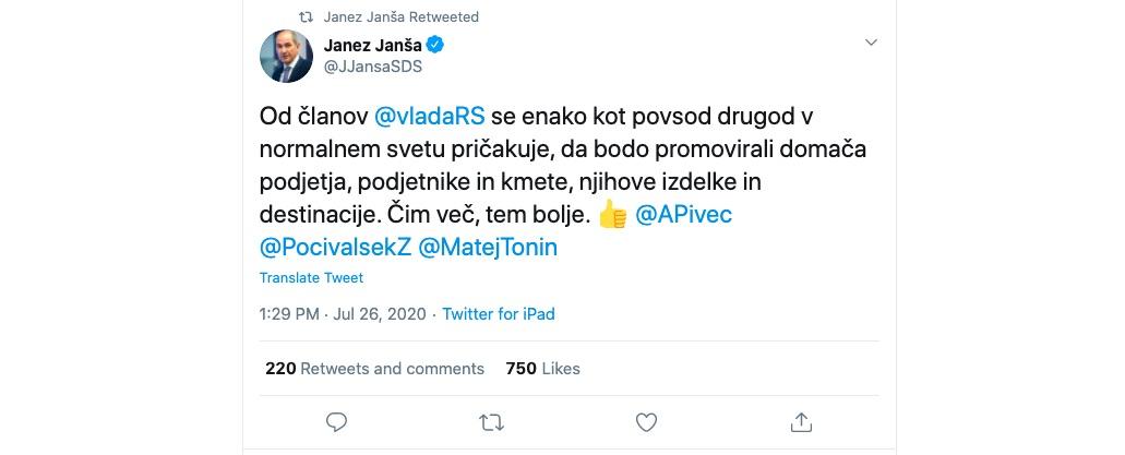 Janez Jansa Aleksandra Pivec influensar