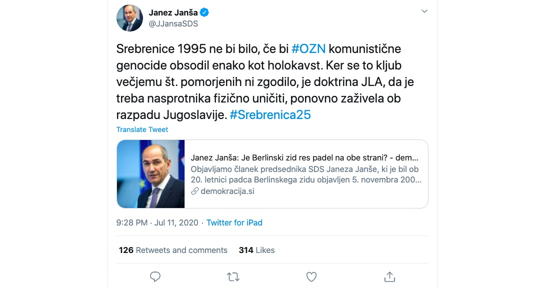 Janez Jansa Srebrenica