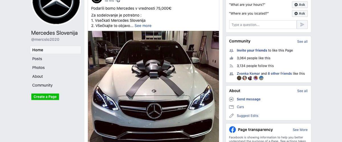Mercedes Slovenija na facebooku ne podarja Mercedesa v vrednosti 75.000 evrov