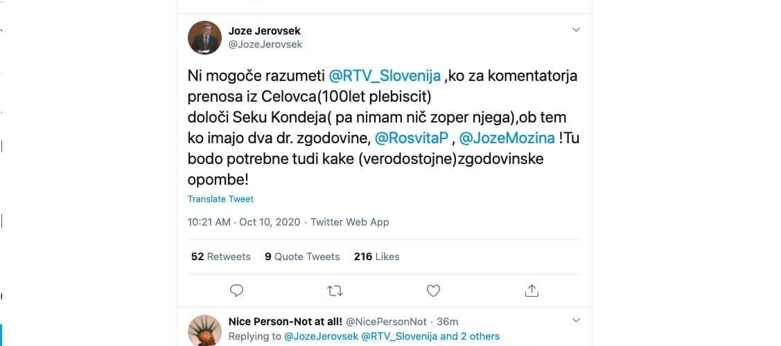 Joze Jerovsek rasist