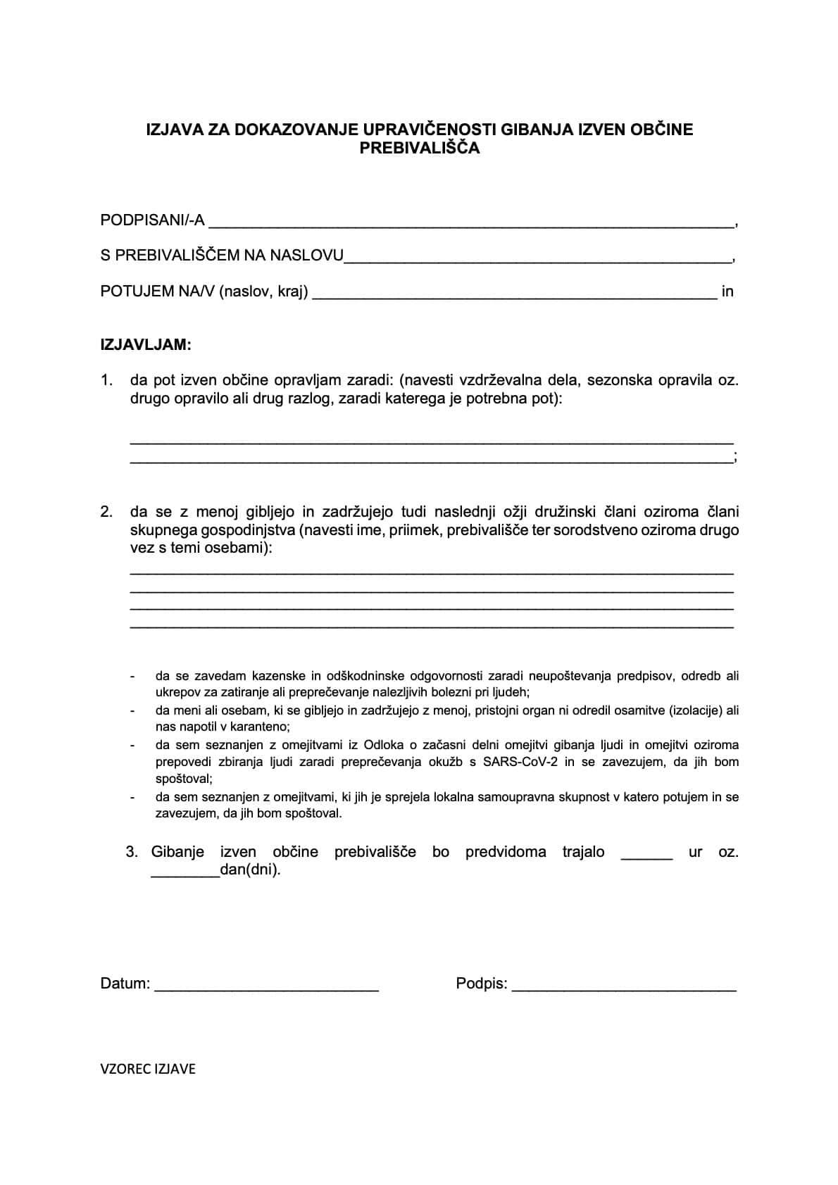 Vzorec Izjava za dokazovanje upravicenosti gibanja izven obcine prebivalisca