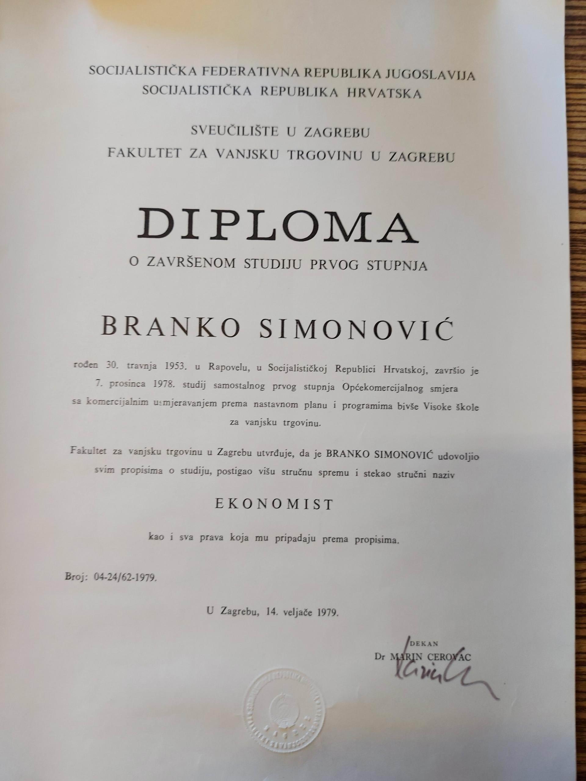 branko simonovic diploma
